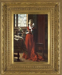 a lady in red by jean de la hoese