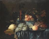 früchtestillleben mit zinnteller und gläsern by jan pauwel gillemans the elder