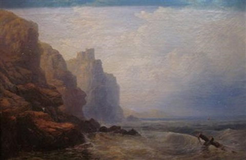 fishing below tantallon castle by george blackie sticks