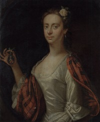 portrait of a lady (jenny cameron?) in a white dress and tartan wrap by jeremiah davison