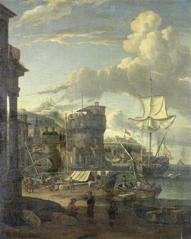 a capriccio of a mediterranean port with figures loading ships by abraham jansz storck