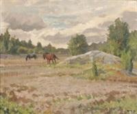 landskap med hästar by greta gerell