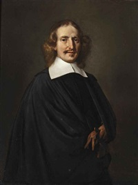 portrait of a gentleman in a black costume with a white collar, holding a glove by thomas de keyser