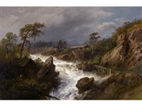 cabin and mill beside a raging river by hermann herzog