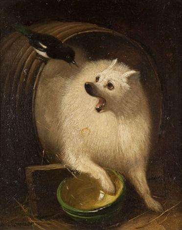 chien dans un tonneau chassant une pie bavarde by henriette ronner knip