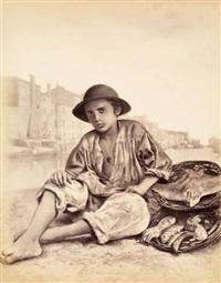 jeune marchand de poissons, ile de chioggia, vénétie by carlo naya