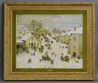 winter village scene by jean paul lemasson