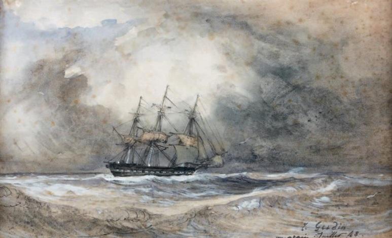 navire par gros temps by baron jean antoine théodore gudin