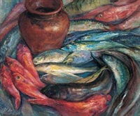 鱼和酒瓶 (fish and a wine jug) by xu jianbai