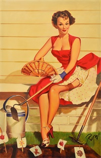 pin-up girl in red dress by dennis ropar