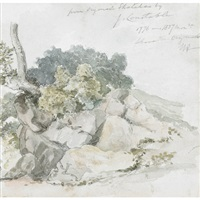 rocky shore (+ country path; 2 works) by william armstrong