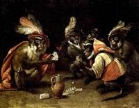 singes jouant aux cartes by abraham teniers