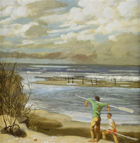 two figures on a beach by walter stuempfig