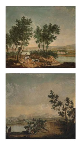 a wooded river landscape with drovers and their cattle on a track mountains beyond a river landscape with travellers resting on a track mountains beyond lrgr 2 works by heinrich wilhelm schweickardt