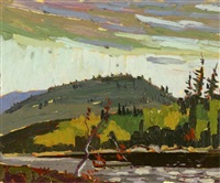 fall lake and hills by arthur george lloy