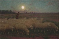 moutons au clair de lune by jan-baptist lesaffre