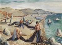 fishermen bundling nets by sybil emerson
