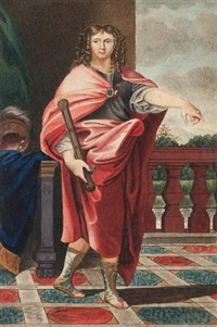 a roman general, standing on tiled balcony, wearing red robes over armoured breast plate and sandals, he holds a sword, a blue cape, helmet and green curtain to the left by george perfect harding