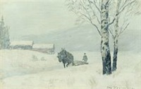 winterscenery with horse and coachman pulling trunks home from the woods by oscar gronmyraz