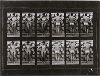 muybridge plate #136, woman shifting her weight with arms on hip, arms behind back by sturtevant