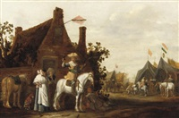 soldier on horseback reposing outside a tavern by abraham van der hoef