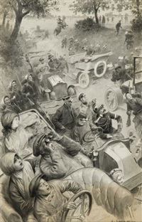 aux manœuvres de picardie en 1910: un aviateur passe by louis rémy sabattier