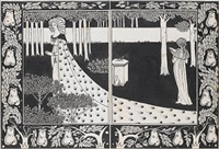 la belle isould at joyous gard by aubrey vincent beardsley