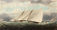 yachts racing off dublin bay with a paddle steamer in the distance by matthew kendrick