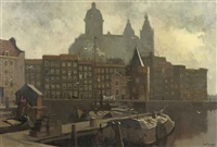 view of the prins hendrikkade with the schreierstoren and the st. nicolaas church beyond, amsterdam by jan korthals