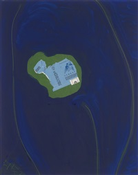 gauloises on green with ultramarine no. 3 by robert motherwell