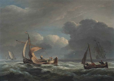 fishermen reefing down in an approaching storm with a dutch warship beyond by thomas luny