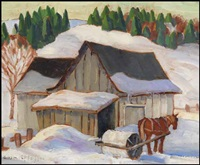 barns at lac beaupré - snow roller by gordon edward pfeiffer