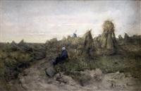paysanne assise au bord du chemin devant les bottes de foin by maria philippina bilders-van bosse