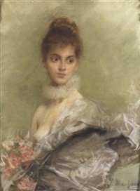 portrait de femme au buste à demi-nu by jules louis machard