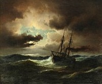 ship in high seas, clearing in the horizon by carl ludwig bille