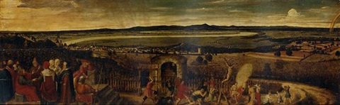 an extensive river landscape with the parable of the tenants and the vineyard owner by lucas van valkenborch