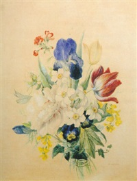 a mixed bouquet of irises, tulips, pansies, narcissi, a geranium and broom by emilie-anna reinhart