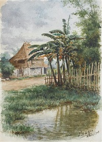 filipino landscape with nipa hut by fabian de la rosa