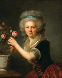 portrait de jeune femme coupant une rose by antoine vestier