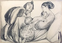 mother and children (illus. for 6/17/1909 issue of pictorial review) by rose o'neill