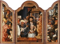 ecce homo, the crucifixion beyond in the right wing; saint jerome and saint catherine of alexandria with donors, outer faces by dirk jacobsz vellert