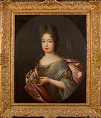 portrait de marie adélaïde de savoie, duchesse de bourgogne, tenant un bouquet de fleurettes by pierre gobert