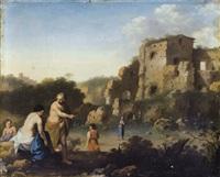 paysage italianisant animé de personnages by cornelis van poelenburgh