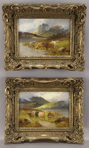 untitled cattle in a highland landscape pair by samuel johnson