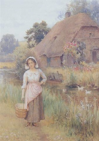 young milkmaid paused beside a river a thatched cottage beyond by william affleck