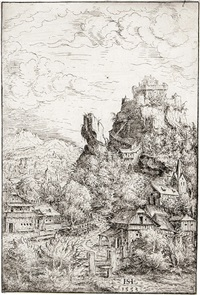 landschaft mit burg (from portfolio of 12 landscapes) by hans sebald lautensack