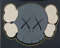 skull painting by kaws
