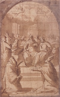 the madonna surrounded by apostles before a kneeling bishop, presenting the model of a church, and another kneeling saint, in an inscribed frame of garlands by giovanni (il cosci) balducci