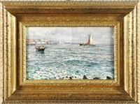 veduta marina con barca a vela by pratella attilio