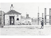 whistler sketching toll house, old battersea bridge, chelsea by walter greaves